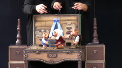 Puppet show at the carnival close up Stock Footage