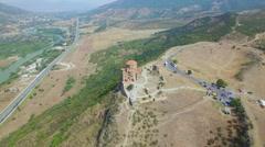 Aerial view of Jvary monastery near Mtskheta Stock Footage