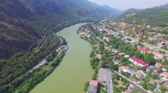 Aerial view of river Kura near Mtskheta Stock Footage