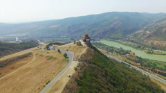 Aerial view of Jvary monastery near Mtskheta - stock footage