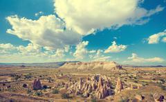 Spectacular rocks formations in Cappadocia - stock photo