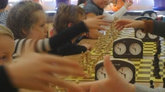 "Chess Tournament ""black Knight"" Club Kids Greet Each Other With a Handshake the Stock Footage"