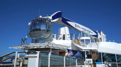 Cruise ship open deck. Look out capsule rise up - Anthem of the Seas - stock footage