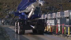 Heavy equipment drive by crane Folsom California damn construction HD - stock footage