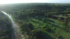 Aerial Views of a creek running through a ranch in Central Texas. Stock Footage