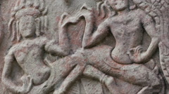 Intricate Khmer carvings in Bayon Cambodia Stock Footage