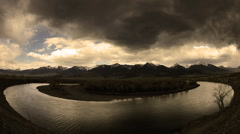 Storm over yellowstone river in Paradise Valley, Montana Stock Footage