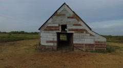 Drone flying through a rusted barn in Central Texas. Stock Footage