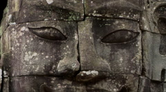 CU of face in Bayon Cambodia Stock Footage
