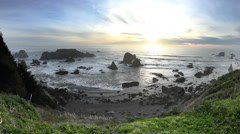 Sun setting on northern California coast Stock Footage