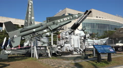 Military equipment from the Korean War in a museum in Seoul Stock Footage