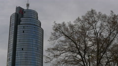 View of Cibona tower and a tree in Zagreb, Croatia Stock Footage