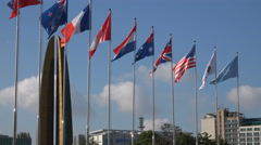 United Nations country flags at War Memorial museum in Seoul Stock Footage
