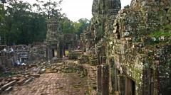 Bayon Temple Undergoing Restoration in Cambodia. UHD video Stock Footage