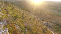 Sunrise aerial view of Wildcat Mountain in West Texas. Stock Footage