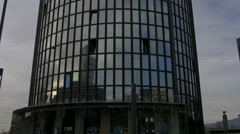 Tilt view of Cibona Tower in Zagreb, Croatia Stock Footage