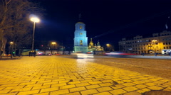 Saint Sophia Cathedral square in Kyiv (Kiev), Ukraine, time lapse Stock Footage