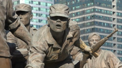 Statues of heroic soldiers at the War Memorial museum in Seoul, South Korea Stock Footage