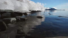 Ice Shelf Meltwater Dripping into Sea - stock footage