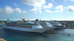 Docked cruise ships in port of Nassau - Bahamas, Nassau harbor - stock footage