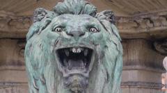4k Expressive aggressive head portrait lion sculpture Stock Footage