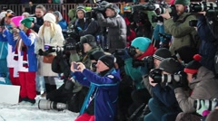 Photographers working in sporting event Stock Footage