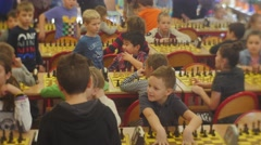 "Enthusiastic Children on the Chess Tournament ""black Knight"" Club People Are Stock Footage"