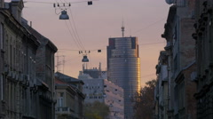 View of Cibona tower and old buildings at sunset, Zagreb Stock Footage