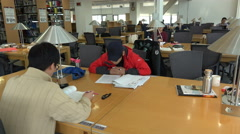 South Korea education, students at work in library, campus, university, Seoul - stock footage