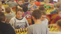 "Enthusiastic Kids in the Chess Club Tournament ""black Knight"" People Are Stock Footage"