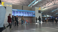 Departure hall, flight information, Incheon International Airport, South Korea Stock Footage