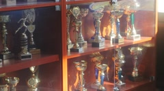Awards Exhibited in the Showcase Chess Cup Represented in the Hall of the Club Stock Footage