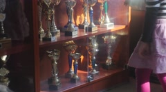 Rewards Exhibited in the Showcase Chess Cup Represented in the Hall of the Club Stock Footage