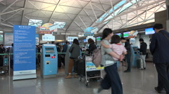Boarding passes, self service check-in counters, Korean Air, Incheon airport Stock Footage
