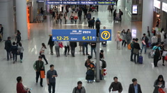 Direction signs to the gates at Incheon Airport in Seoul, South Korea Stock Footage