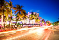 Stock Photo of South Beach night scene at Ocean Drive, Miami