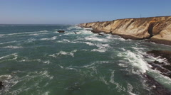 Pt Arena Cliffs from Lighthouse LS  Rocks and Sea Aerial 4K Stock Footage
