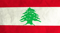 Lebanese flag waving in the wind (full frame footage) Stock Footage