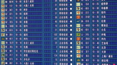 Electronic schedule board timetable, flight information, Incheon Airport, Korea Stock Footage