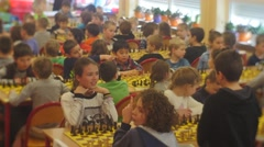 "Chess Tournament Enthusiastic Boys and Girls ""black Knight"" Club People Are Stock Footage"