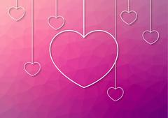 Modern pink abstract background with white hang hearts from the top Stock Illustration