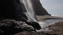 Waterfall and Beach in Northern California - stock footage