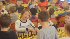 "Enthusiastic Boys and Girls on the Chess Tournament ""black Knight"" Club People Stock Footage"