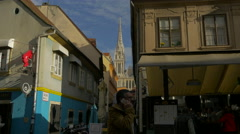 Bell tower of Zagreb Cathedral seen from Dolac Market in Zagreb, Croatia Stock Footage