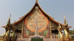 Traditional Thai architecture, Wat Buddhist Thailand or Buddhist Thailand Temple Stock Footage