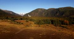 Bush Plane Beaver Flyby Alaskan Scenic Aerial 4K Stock Footage