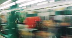 Rush hour inside metro wagon train - stock footage