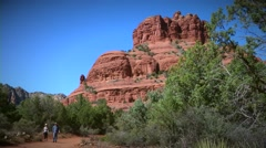 Family Hikes Bell Rock Stock Footage