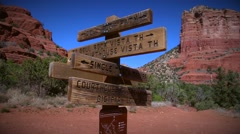 Signs for trails at Bell Rock Stock Footage
