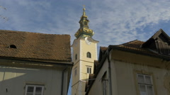 Low angle view of Saint Mary church tower in Zagreb, Croatia - stock footage